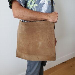 Suede leather messenger bag unisex